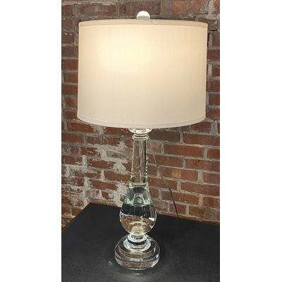 Crystal Glass Lamp w Off White Shade