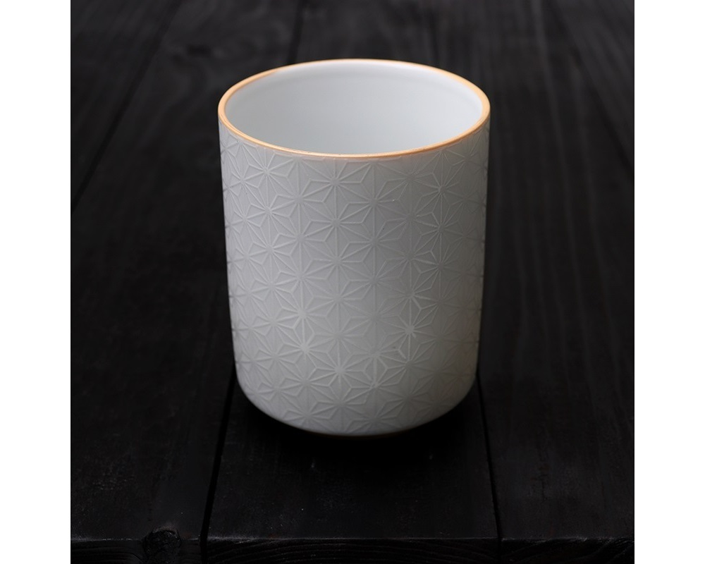White Sashiko Relief 8 Oz. Teacup
