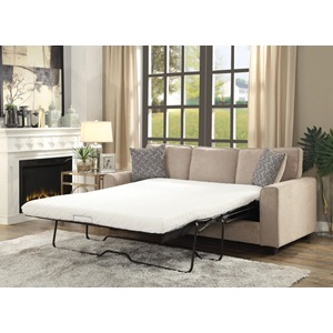 52298 KHAKI FABRIC SOFA W/SLEEPER
