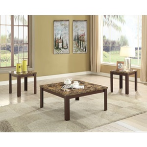 84565 LIGHT BR. 3PC CO/END TABLE SET