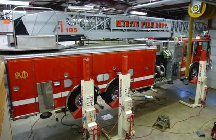 A fire truck being serviced at Shipman's Fire Equipment