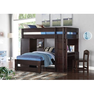 37495_KIT LARS WENGE LOFT BED & TWIN BED
