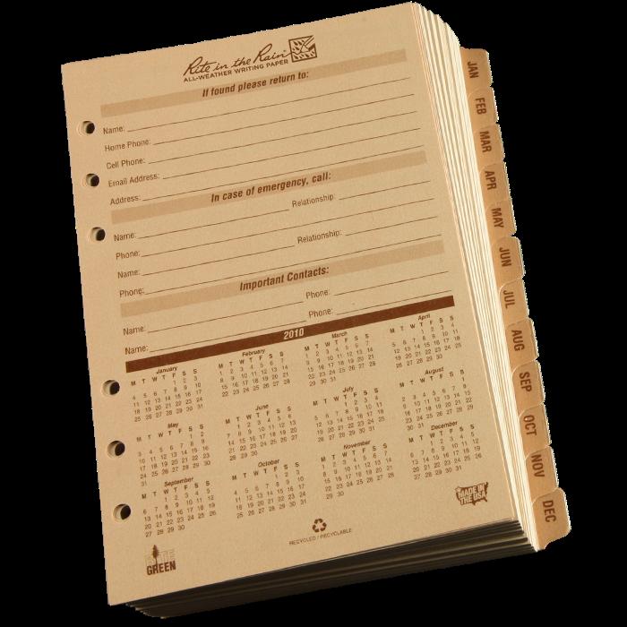 Calendar Planner C : Rite in the rain daily calendar planner component