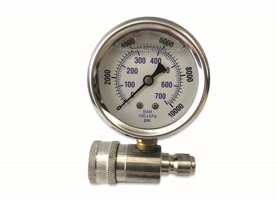 MTM Hydro 10,000 PSI Top Mount Gauge on Stainless QC Fitting