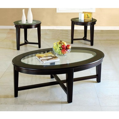 18458 3PC PACK C/E TABLE W/GLASS TOP
