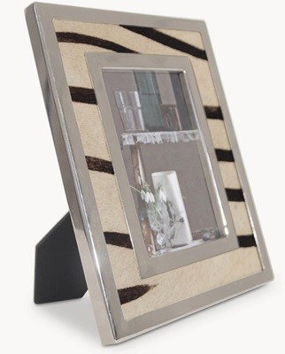 4X6 Zebra Hide and Nickel Frame