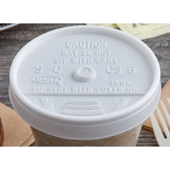 16UL WHITE PLASTIC SIP THRU LID, 1000/CS