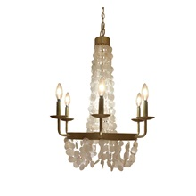 "27.5""H Brushed Gold + Capiz Shell Candelabra Plug-in and Hardwire 6-Arm Chandelier"