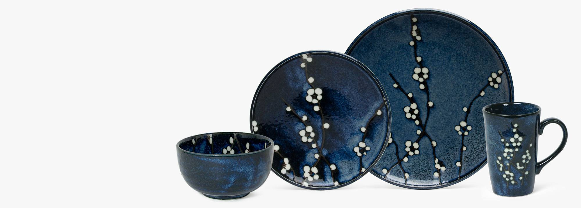 A variation of the original Spring Blossoms Line the Namako Blossoms Series brings rich color to the table. The white flower blossoms pop out from the ... & Namako Blossoms | Japanese Cups Plates Bowls Saki u0026 Tea Sets | Miya