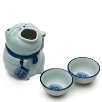 Blue & White Cat Sake Set