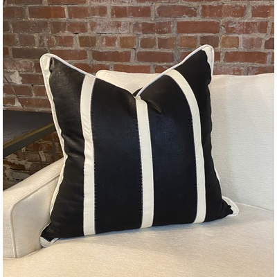 Black Linen Fabric w/ Off-White Leather Stripes Down Pillow - 24x24