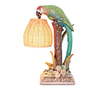 "13.8""H Welcoming Parrot with a Wicker Basket Shade"