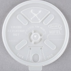 16FTLS DART 16 OZ WHITE LIFT N LOCK LID WITH STRAW SLOT, 1000/CS