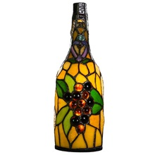"12.5""H Stained Glass Cordless Wine Bottle Accent Lamp"