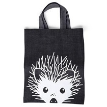 Black Denim Tote Hedgehog