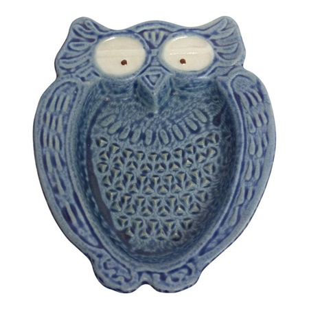 OWL SHAPED CERAMIC GRATER - BLUE