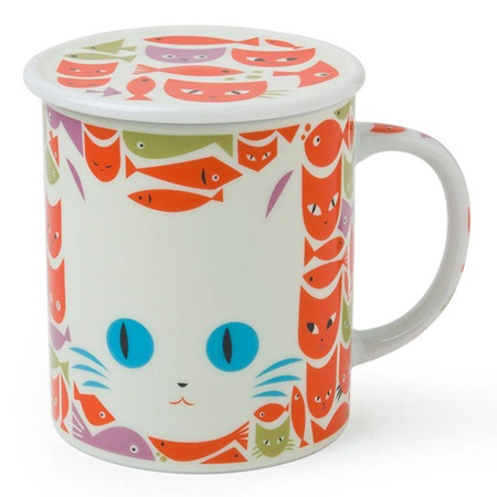 Mask Cat & Fish 8 Oz. Lidded Mug - White & Orange