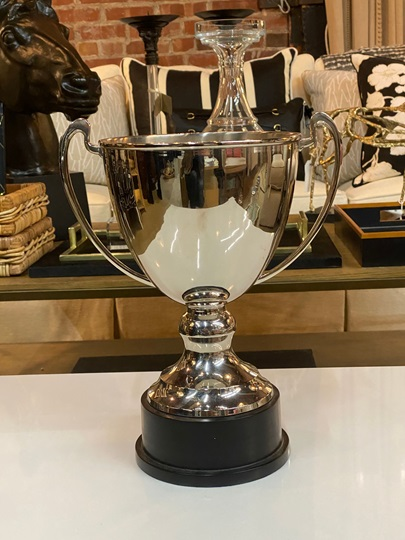 Large Silver Trophy on Large Black Base