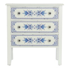 "28""H Blue & White French Countryside 3-Drawer Cabinet"