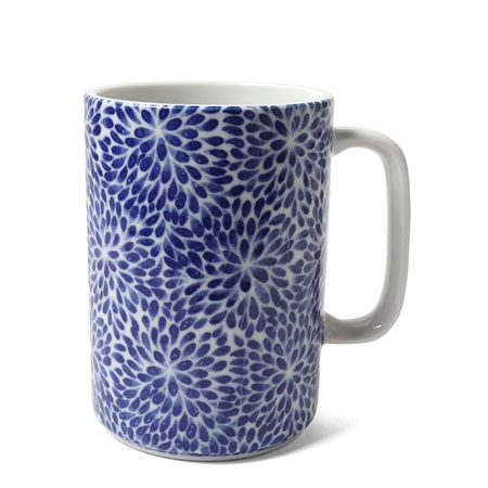 Mug Blue & White Mums 16 oz.