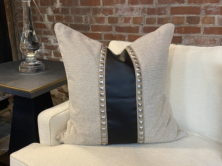 Taupe Cotton Blend Fabric w/ Black Leather Nailhead Down Pillow