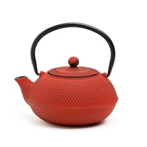 Red Hobnail Cast Iron Teapot