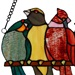 "9.5""H Birds in Love Stained Glass Window Panel"