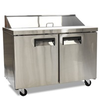 "FOODSERVICE ESSENTIALS MRSL-2D 47"" W REFRIGERATED 2-DOOR SALAD/SANDWICH PREP TABLE"