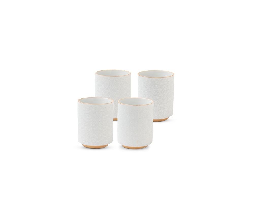 White Assorted Relief Teacup Set