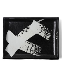 Black & White Brush Rectangle Platter