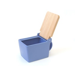 Ceramic Salt Box with Wooden Lid, Blue