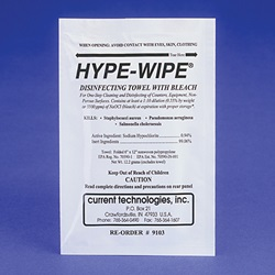 Hype-Wipe™ Disinfecting Bleach Towels (Current Technologies)