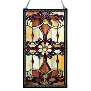 "26""H Tiffany Style Stained Glass Brandi's Window Panel"