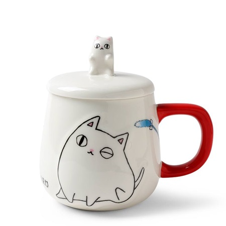 Cat Pals 10 oz. Mug with Lid Shiro