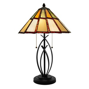 "23""H Abagail 2-Light Modern Stained Glass Table Lamp"