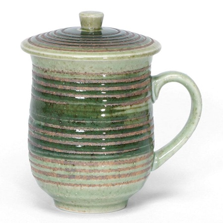 Green Hakeme Mug With Lid