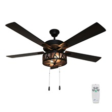 "52""W Zander 5-Blade Urban Industrial Caged LED Ceiling Fan with Remote Control"