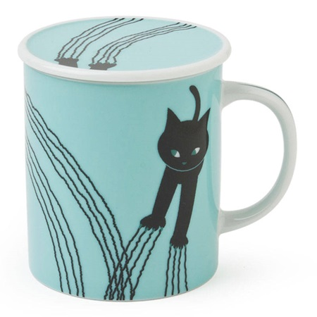 Naughty Cat 8 Oz. Lidded Mug - Blue