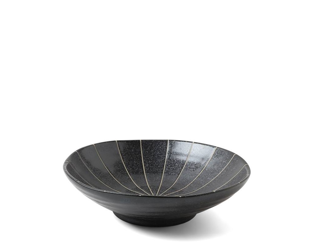 "Kasa Lines Black 6.75"" Shallow Bowl"