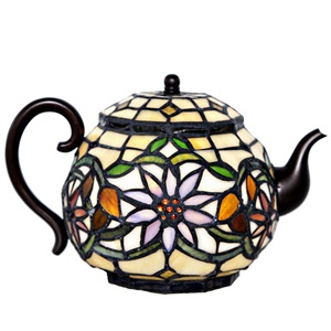 "6.5""H Stained Glass Teapot Accent Lamp"