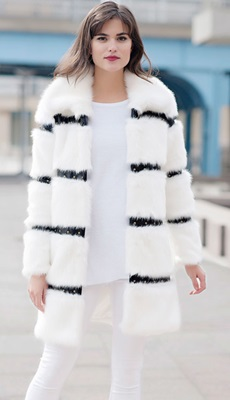 White Mink Faux Fur Coat with Faux Leather Trim