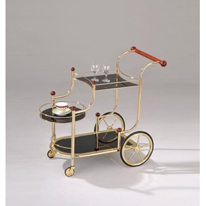 98006 GOLD SERVING CART W/BK GLASS