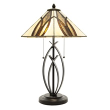 "23""H Winsor 2-Light Modern Stained Glass Table Lamp"