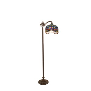 "60.5""H Victorian Stained Glass Beaded Umbrella Side Arm Floor Lamp"