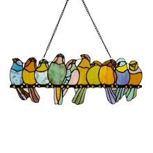 "9.5""H Stained Glass Birds on a Wire Window Panel"