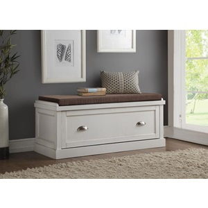 96618 PURE WHITE BENCH W/STORAGE