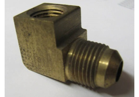 "Brass 3/8"" FPT x 1/4"" MPT 90 Degree Elbow"