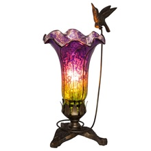 "9""H Hand Blown Mercury Glass Hummingbird Lily Lamp"