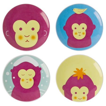 "MONKEYS 3.5"" MINI PLATE SET"