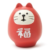 DARUMA CAT FIGURINE - RED